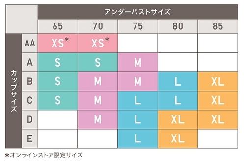 ワイヤレスブラサイズ表